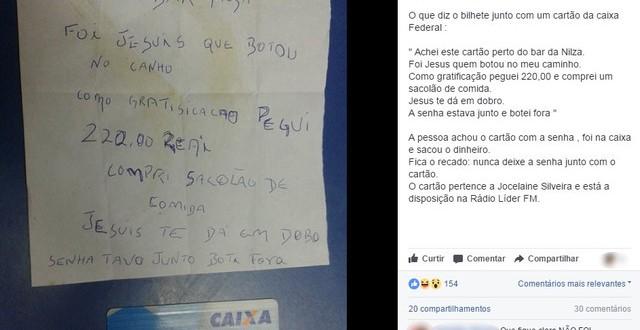 Mulher descobre na internet que perdeu cartão com senha anotada em Restinga Seca