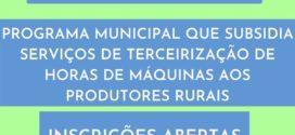 Programa Municipal subsidia 50% do valor de serviços de terceirização de horas de máquinas aos produtores rurais