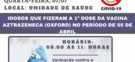 Covid-19: Taquaruçu do sul aplicará segunda dose nesta quarta-feira, 07